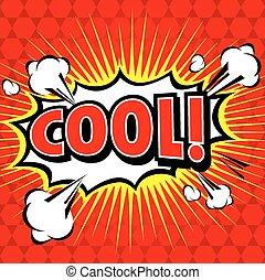 fala, cômico, bolha, cool!