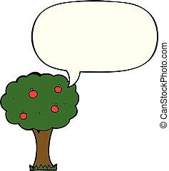 fala, caricatura, árvore, maçã, bolha