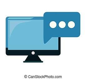 fala, computador, bolha, monitor