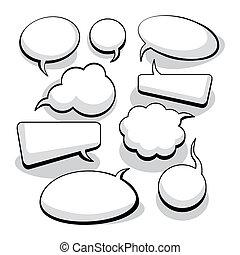 fala, e, pensamento, bolhas, (vector)