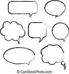 fala, jogo, bolha
