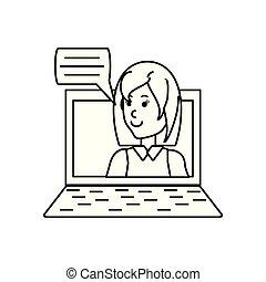 fala, laptop, mulher, bolha, jovem