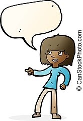 fala, menina, bolha, caricatura, apontar