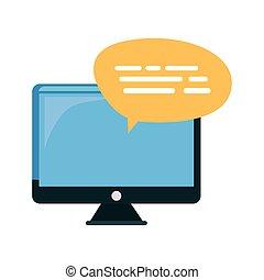 fala, mensagem, computador, bolha, monitor