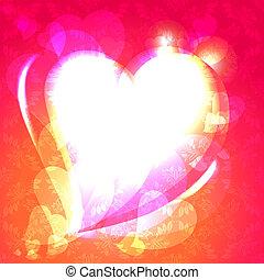 fala, ornamento, bolha, corações