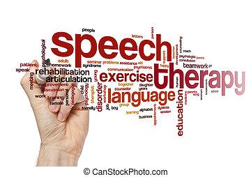 fala, palavra, conceito, terapia, nuvem