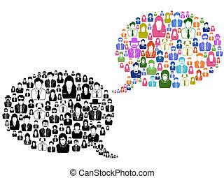 fala, pessoas, bolha, ícones