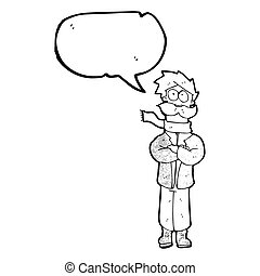 fala, piloto, antigas, caricatura, bolha