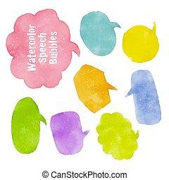 fala, textura, bolhas, jogo, aquarela, coloridos