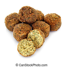 Falafel balls, isolated on white background.
