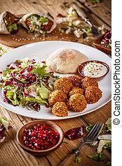 Falafel balls with salad