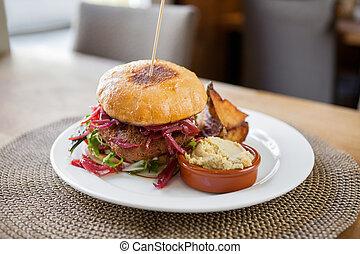 falafel, burger, vegetarian