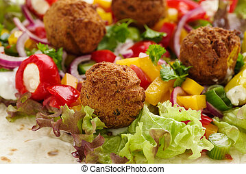 Falafel - fresh falafel with veggies and salad