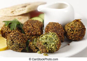 falafel, grão-de-bico, bolas, closeup