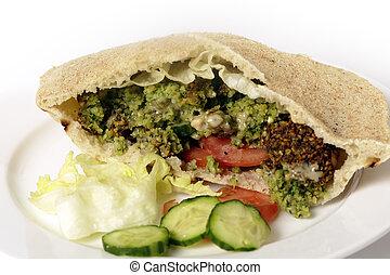 falafel, grão-de-bico, bolas, sanduíche salada