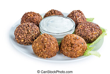 Falafel isolated on white - Falafel (close-up shot; ...