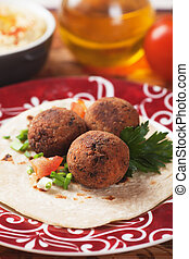 Falafel, middle eastern classic food with pita bread