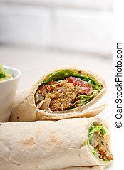 falafel pita bread roll wrap sandwich traditional arab...