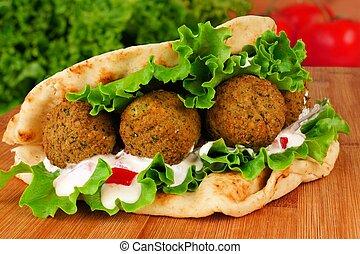 falafel, pita, envoltório