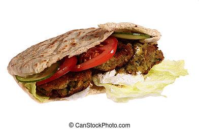 Falafel sandwich, isolated - A traditional falafel sandwich...