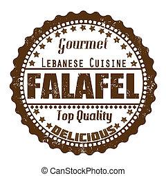 Falafel stamp - Falafel grunge rubber stamp on white, vector...