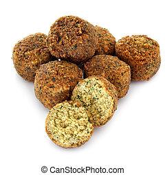 Falafel balls, isolated on white background.