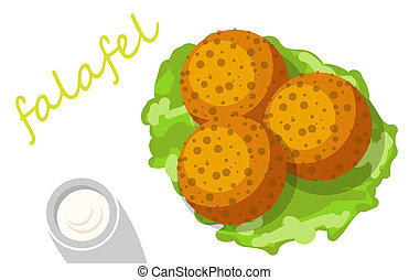 Traditional falafel stuffed pita with vegetables. illustrations