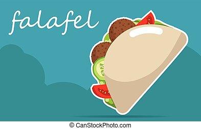 Falafel stuffed pita with vegetables. Vector illustrations