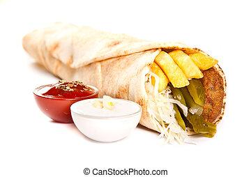 Falafel - Vegetarian kebab with fries and vegetables