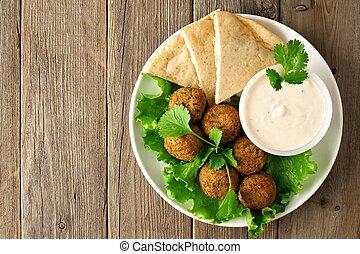 Falafel with pita and tzatziki - Plate of falafel with pita...