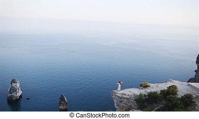 falaise, bord, femme, rivage, touriste, extérieur