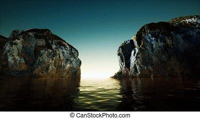 falaise, eau, froid, mer, rocheux