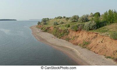 falaise, rivière, rivage