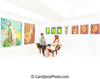 falando, aproximadamente, artworks, par, jovem