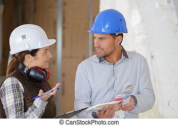 falando, aproximadamente, trabalhadores, projeto, profissional