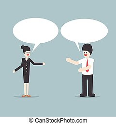 falando, bolhas, mulher, fala, homem negócios