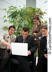 falando, businesspeople, rir