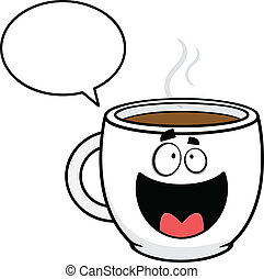falando, café, caricatura, copo