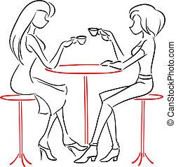 falando, café, namoradas