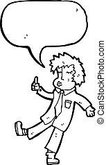 falando, caricatura, escritório, homem