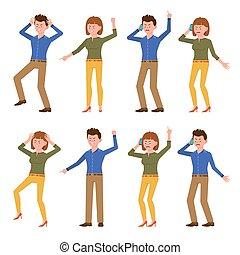 falando, caricatura, zangado, personagem, azul, desesperado, femininas, cansado, dedo, illustration., macho, verde, escritório, shouting, vetorial, telefone, jogo, camisa, apontar, gritando, menina, menino