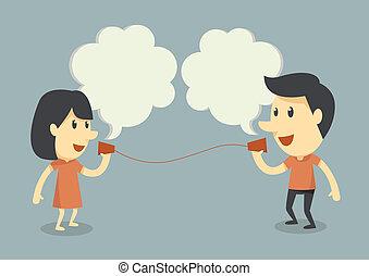 falando, com, copo, telefone