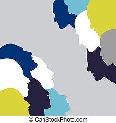 falando, concept., pessoas, perfil, cabeça, em, discussion.