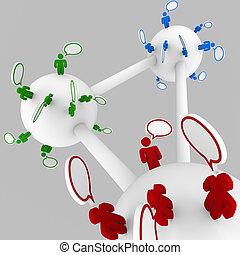 falando, conectado, grupos, pessoas