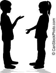 falando, dois, silhuetas, conceptual., pretas, crianças