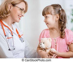 falando, doutor, pediatra, criança