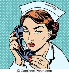 falando, enfermeira, escrivaninha, recepção, telefone