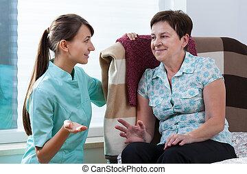 falando, enfermeira, paciente