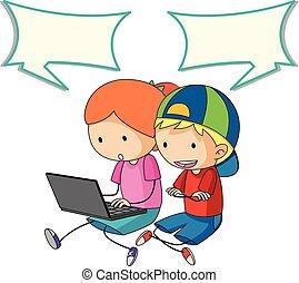 falando, fala, crianças, bolha, computador