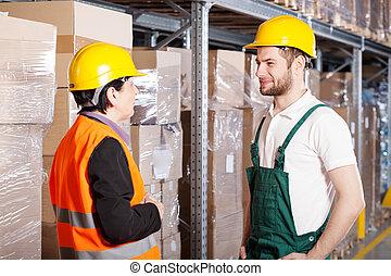 falando, gerente, trabalhador